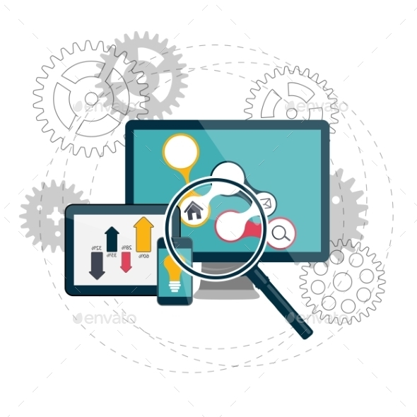Search Engines Optimization Concept Vector - Web Technology