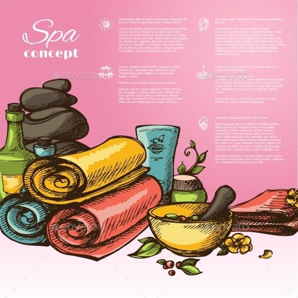 Spa Sketch Background - Backgrounds Decorative