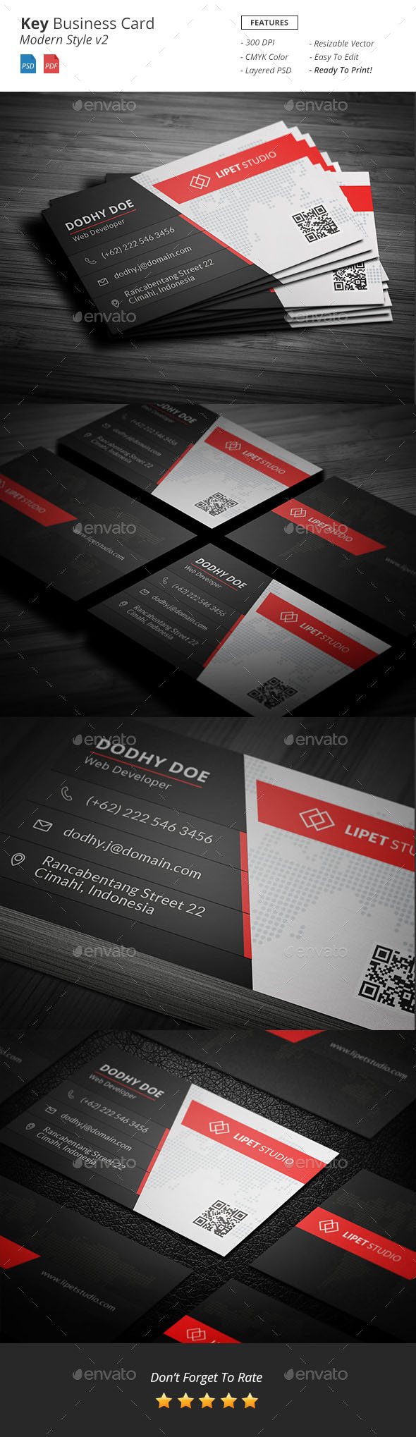 Key - Modern Business Card Template v2 - Business Cards Print Templates