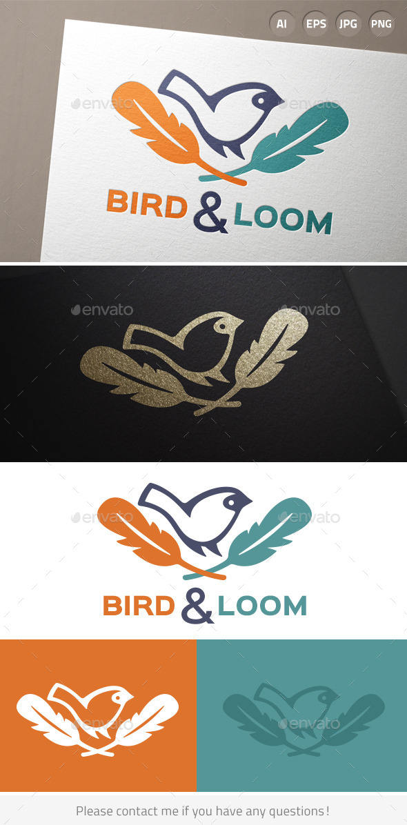 Bird Feather Hipster Logo - Animals Logo Templates