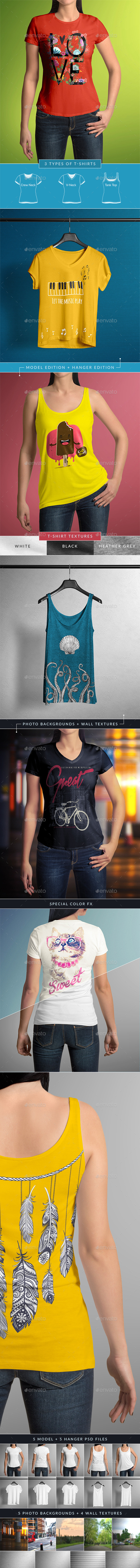 T-Shirt Mock-Up Female Model / Classic Edition - T-shirts Apparel