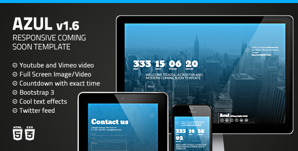 Azul - Creative Coming Soon Template - Under Construction Specialty Pages