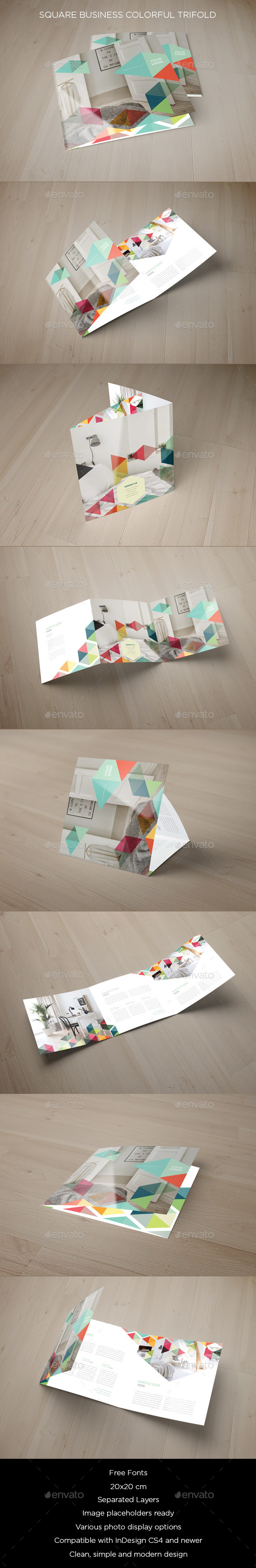 Square Business Colorful Trifold - Brochures Print Templates