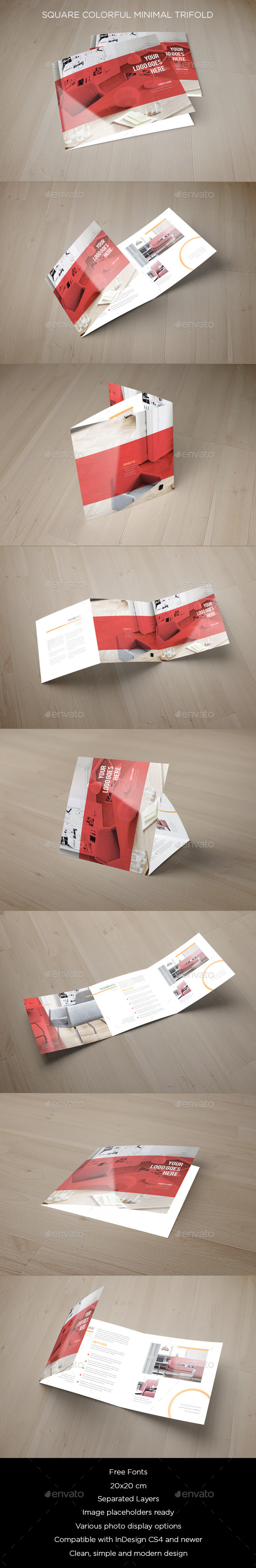 Square Colorful Minimal Trifold - Brochures Print Templates