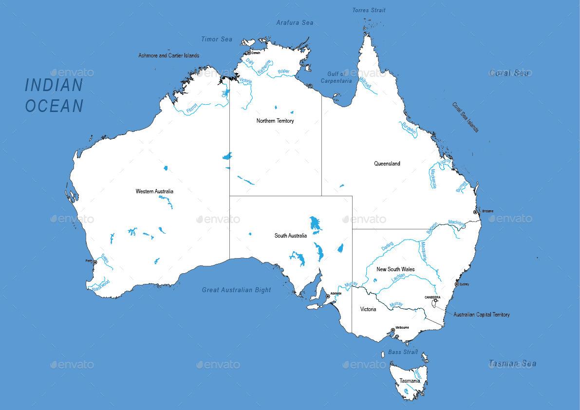 Detailed Map Of Australia.Detailed Map Of Australia
