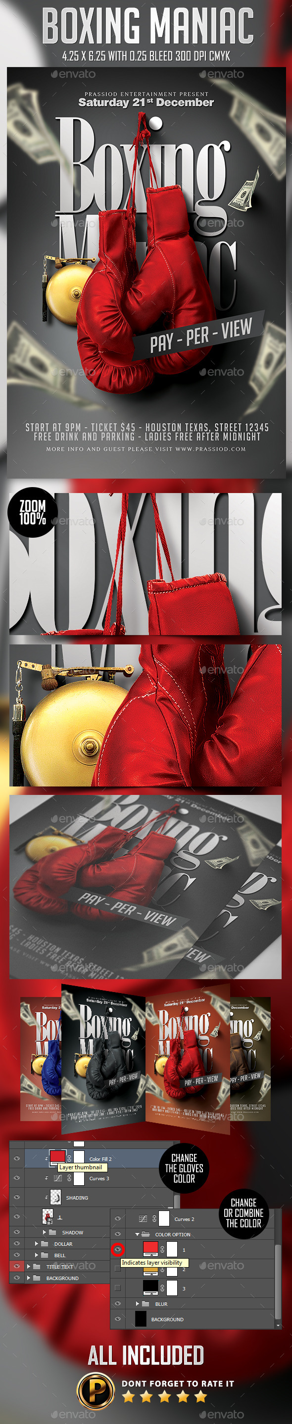 Boxing Maniac Flyer Template - Sports Events