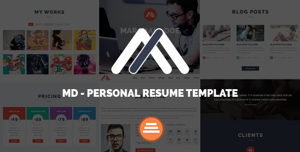 MD - Responsive Personal Resume & Portfolio Template - Resume / CV Specialty Pages