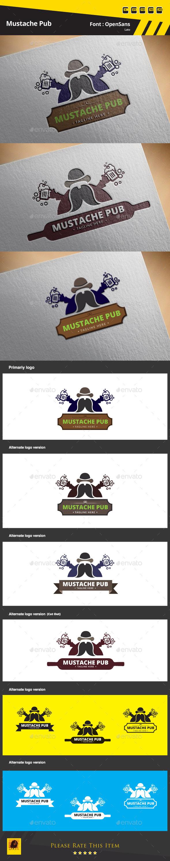 Mustache Pub Logo Template - Food Logo Templates