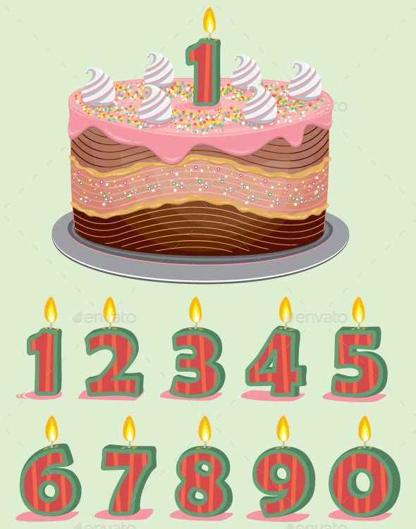 Birthday Cake with Candles - Birthdays Seasons/Holidays