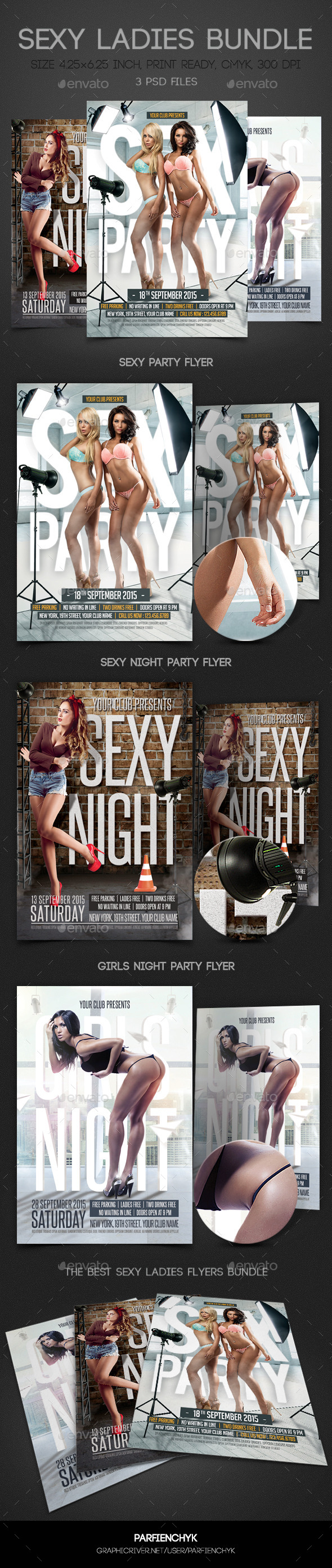 Sexy Ladies Flyers Bundle - Clubs & Parties Events