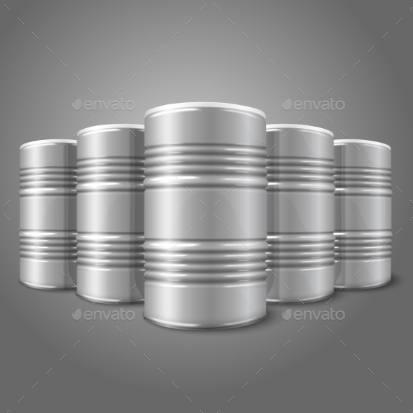 Blank Realistic Blank Oil Barrels - Man-made Objects Objects