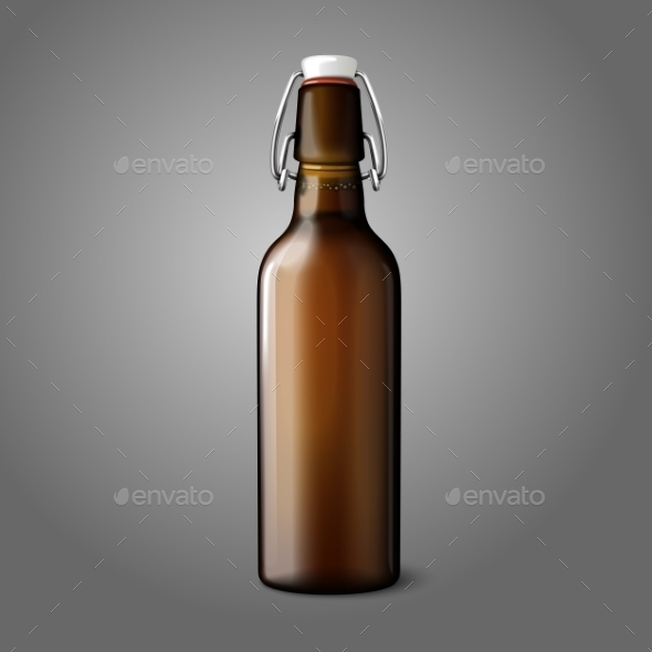 Blank Brown Retro Beer Bottle - Man-made Objects Objects