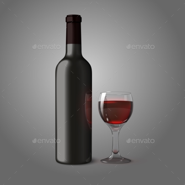 Blank Bottle for Red Wine with Glass - Man-made Objects Objects