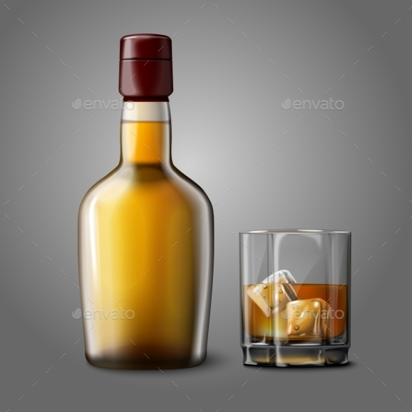 Blank Bottle with Glass of Whiskey  - Man-made Objects Objects