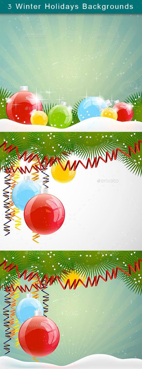 Winter Holidays Backgrounds Set - Christmas Seasons/Holidays