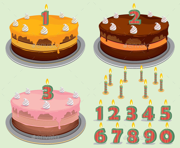 Birthday Cake with Number Candles - Birthdays Seasons/Holidays