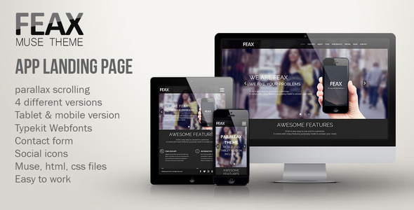 Feax - App Landing Page Template - Landing Muse Templates