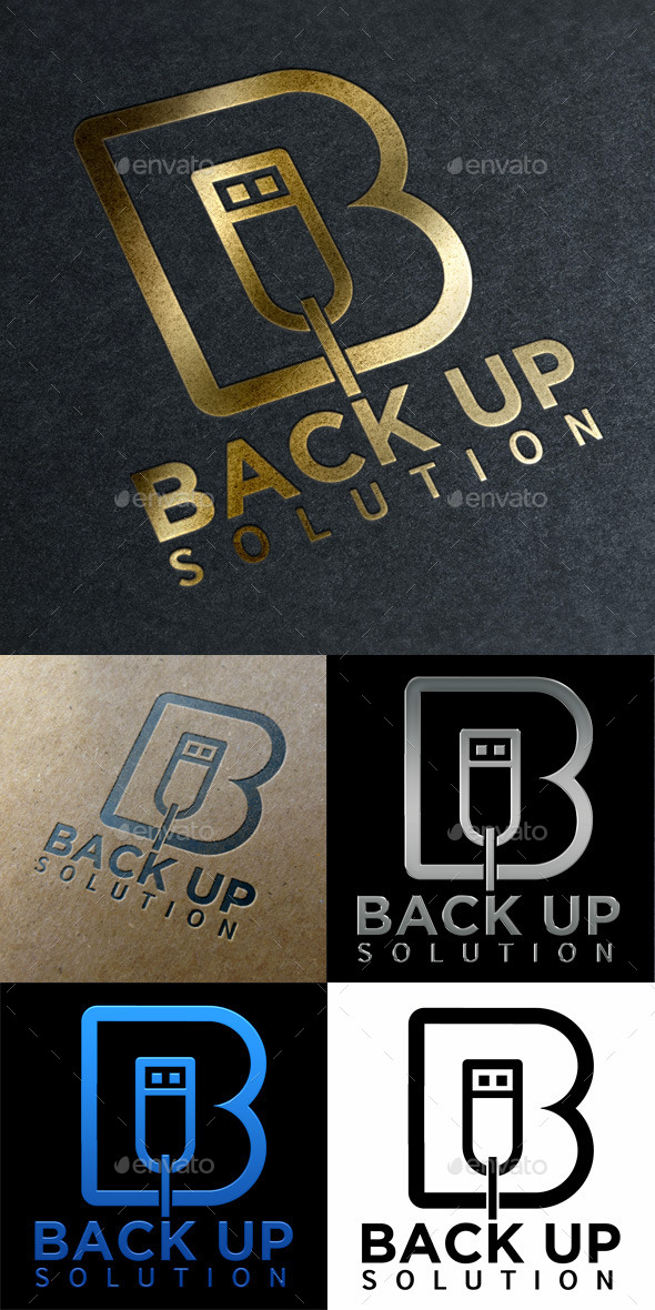 Logo Back Up Solution Technology - Letters Logo Templates