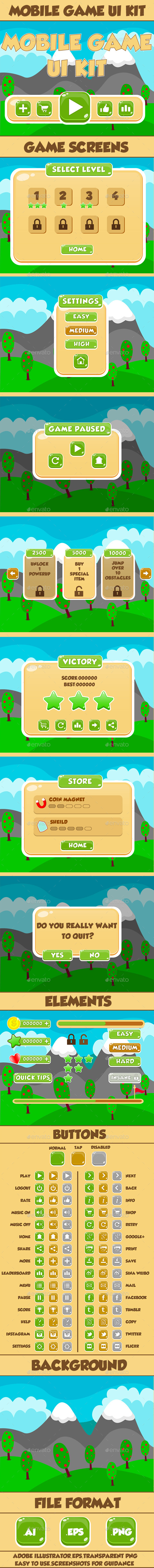 Mobile Game UI Kit 06 - User Interfaces Game Assets