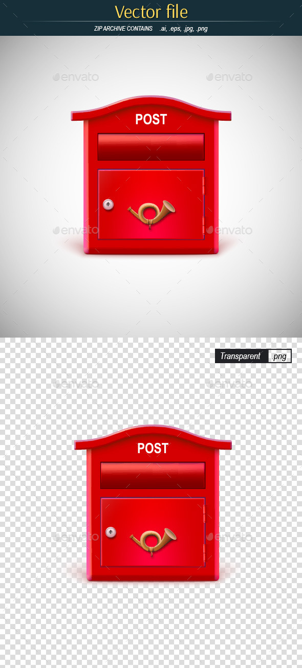 Vintage Red Mailbox - Man-made Objects Objects
