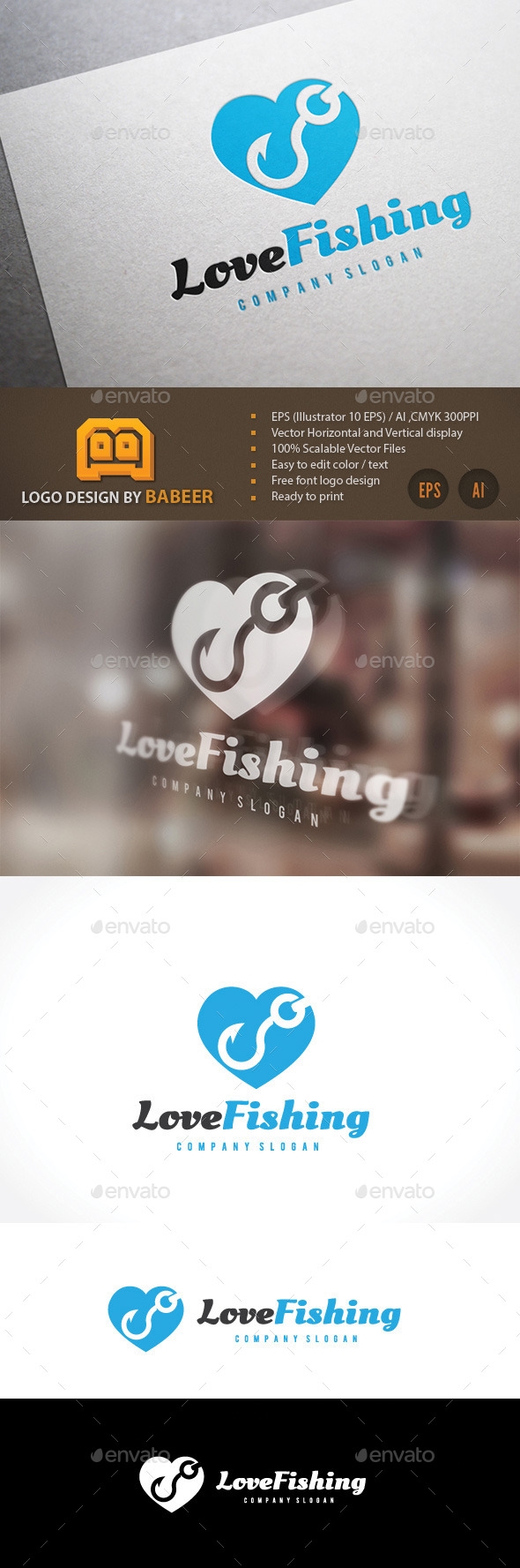 Love Fishing  - Objects Logo Templates