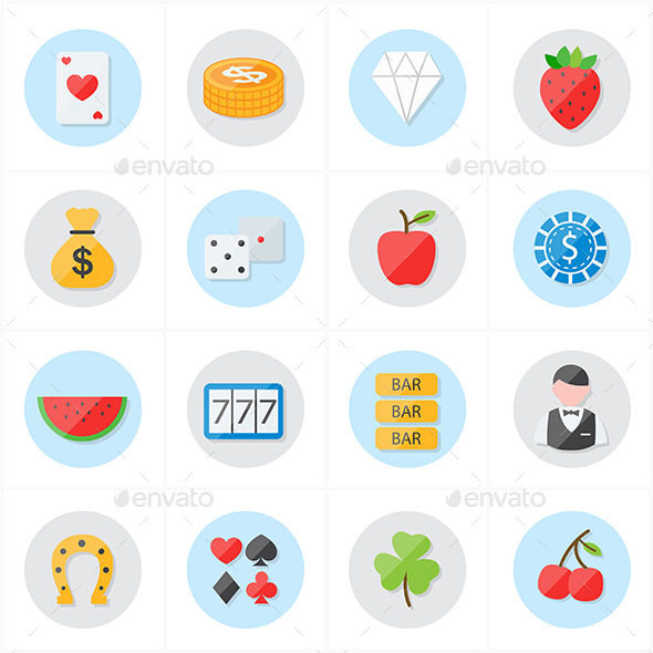 Flat Icons For Casino Icons and Game Icons Vector  - Objects Icons