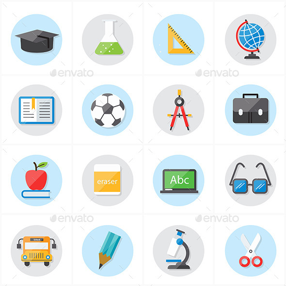 Flat Icons For Education and School - Objects Icons
