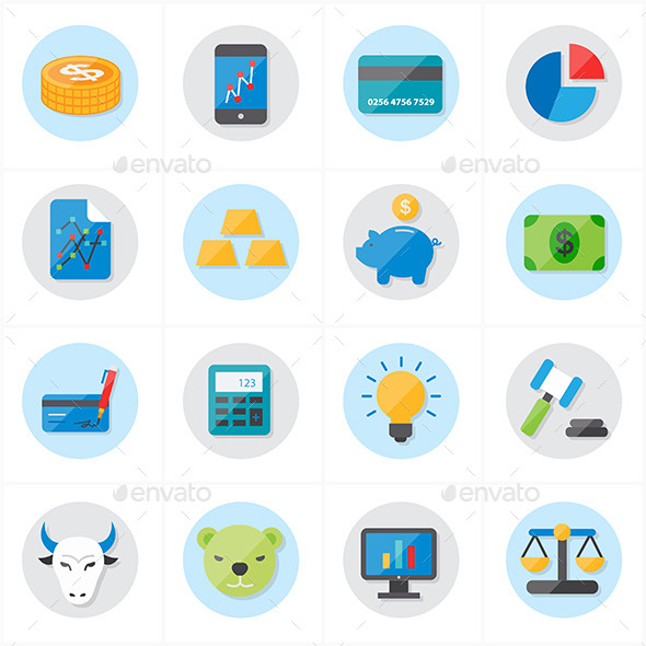 Flat Icons For Finance Business - Business Icons