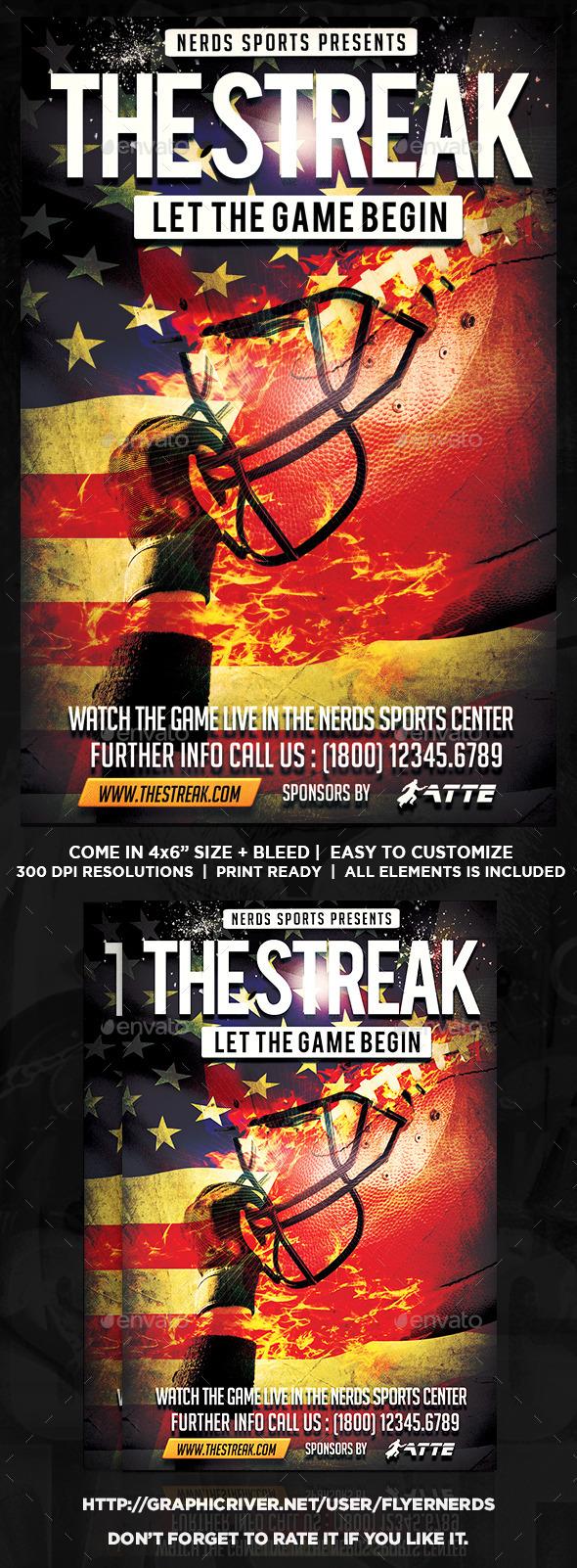 The Streak Football Flyer - Sports Events