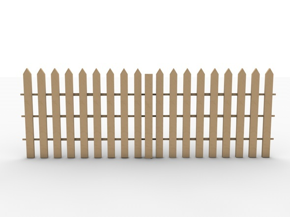 Realistic garden fence low poly model