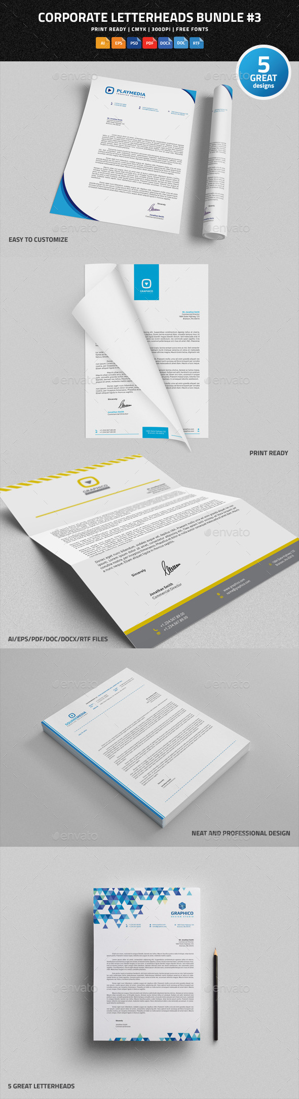 Corporate Letterheads Bundle #3 - Stationery Print Templates