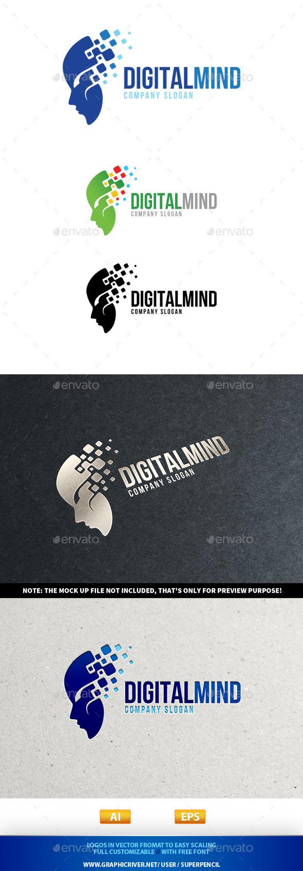 Digital Mind Logo - Humans Logo Templates