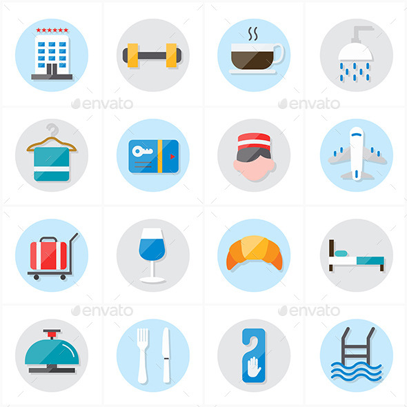 Flat Icons For Hotel and Travel Vector - Icons