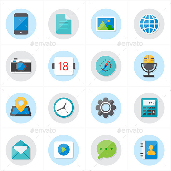 Flat Icons For Media and Communication - Media Icons