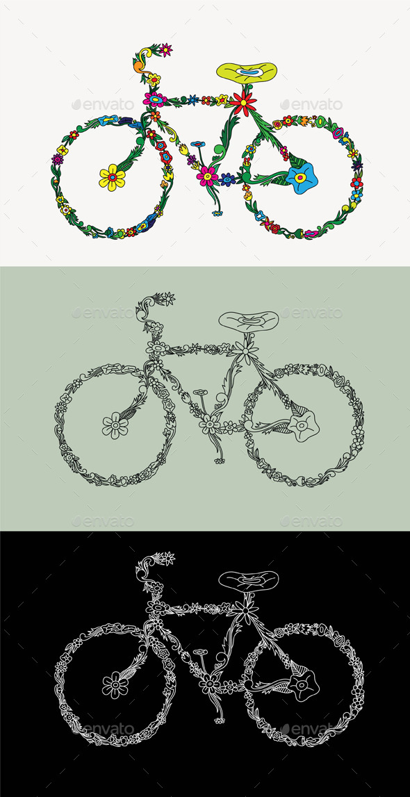 Bike Floral Ornament - Decorative Symbols Decorative