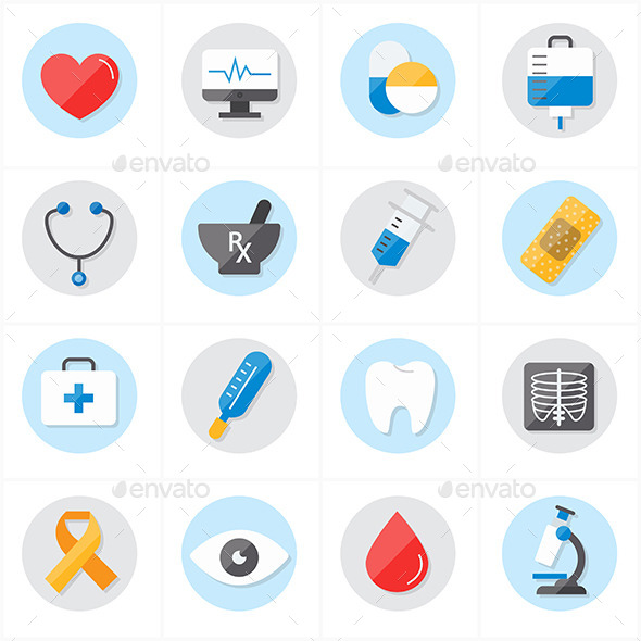Flat Icons For Medical and Healthcare - Icons