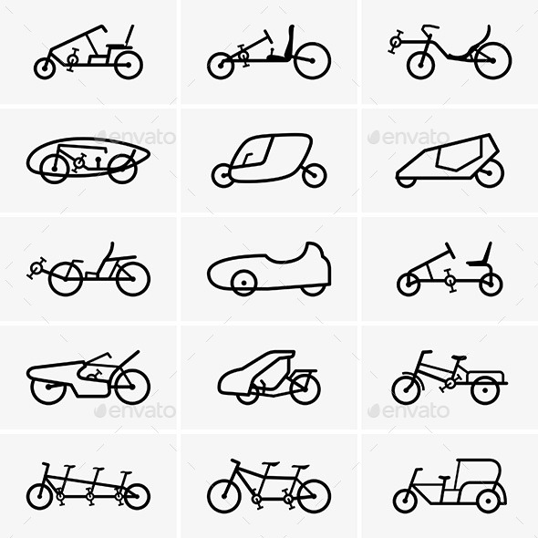 Bicycle Cars Icons - Patterns Decorative