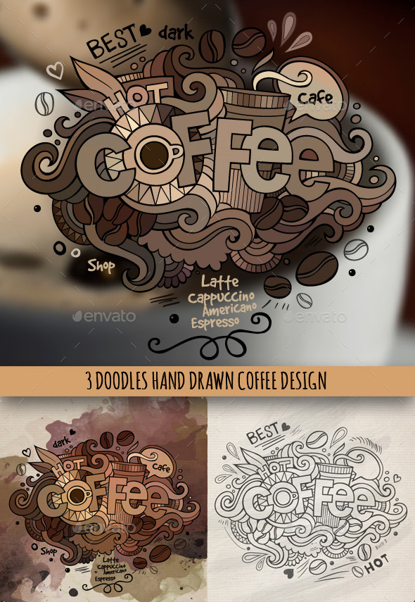 Coffee Doodles Designs - Food Objects