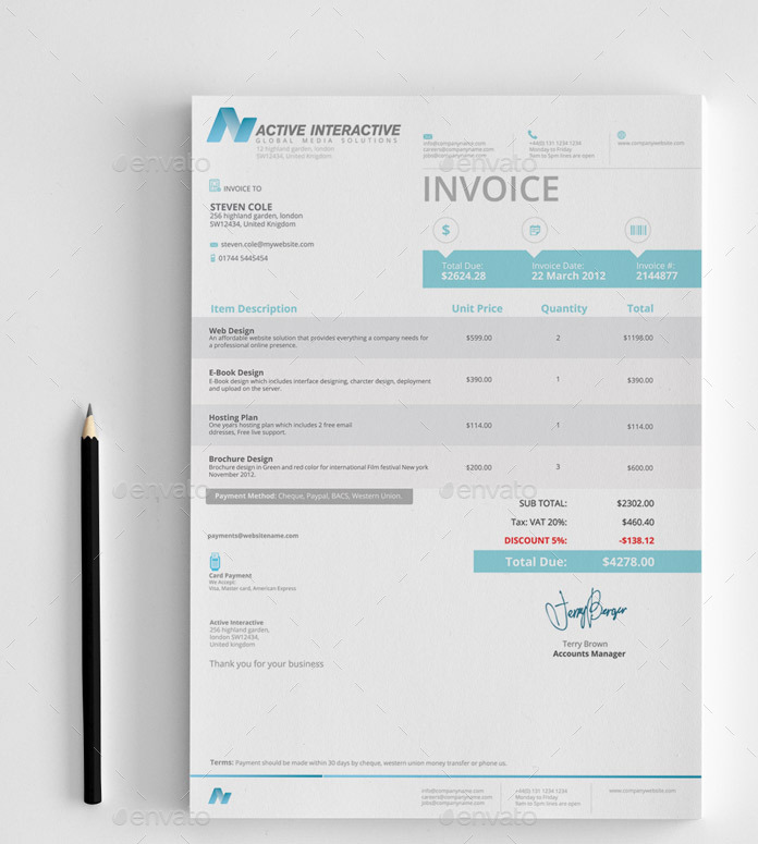 Invoices by feeltheblue graphicriver invoices thecheapjerseys Image collections
