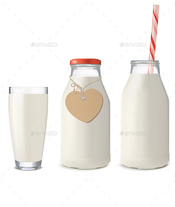 Glass and Bottles of Milk - Food Objects