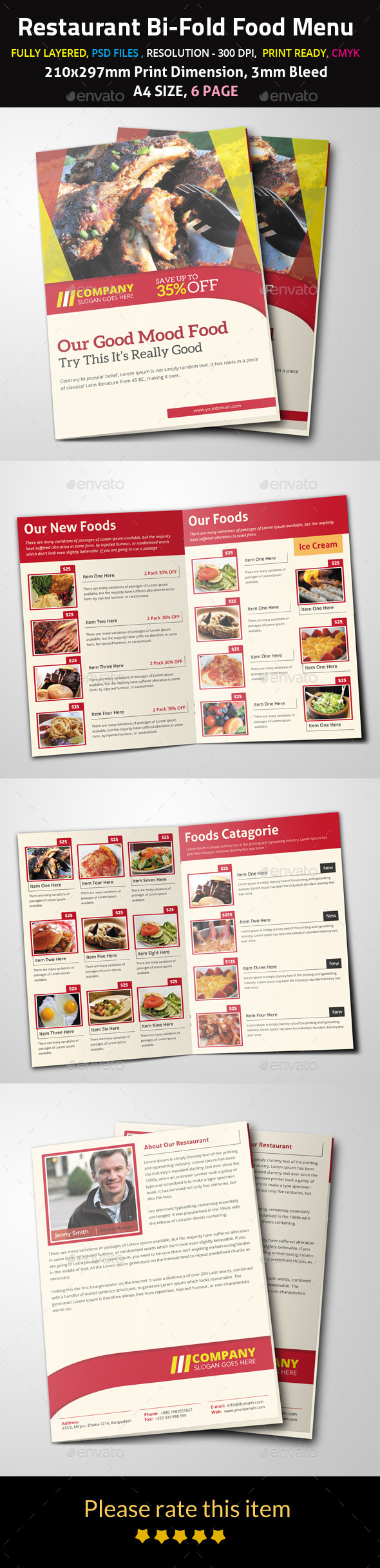 Restaurant Bi-Fold Food Menu - Food Menus Print Templates