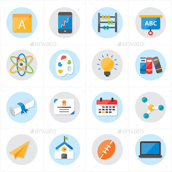 flat icons for school and education vector by karawan graphicriver