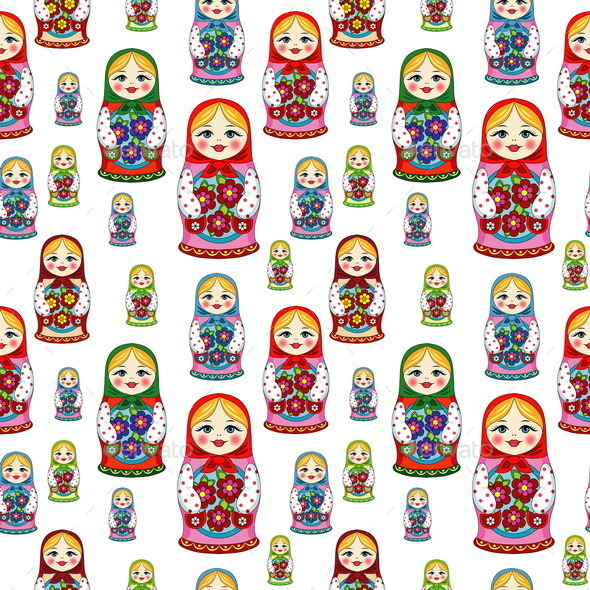 Seamless Pattern with Russian Dolls - Objects Vectors