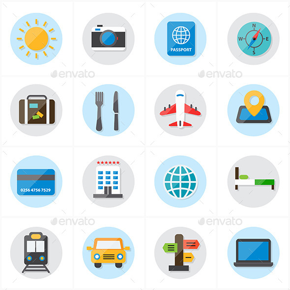 Flat Icons For Travel and Transport Vector - Icons