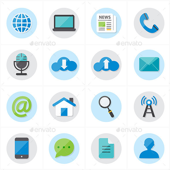 Flat Icons For Web and Internet Vector - Technology Icons