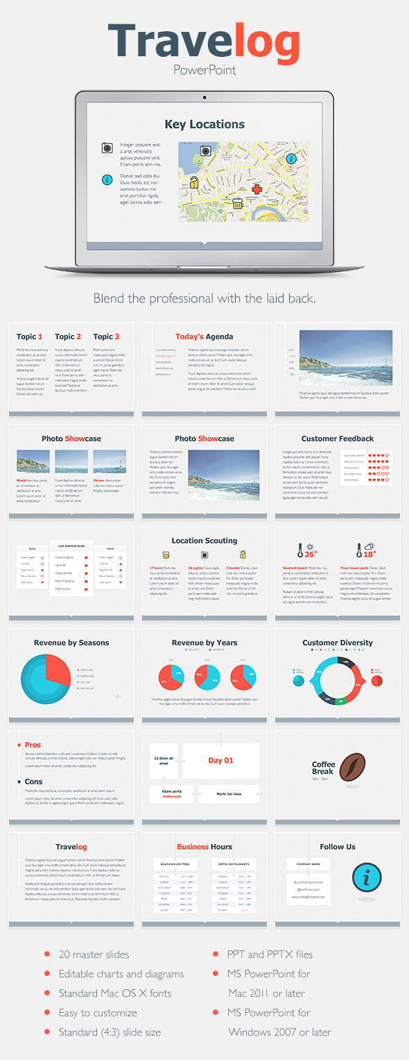 Travelog PowerPoint Template - PowerPoint Templates Presentation Templates