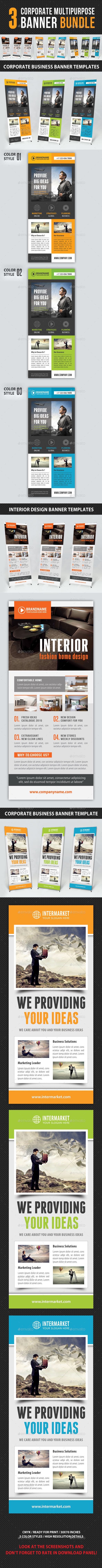 3 in 1 Corporate Multipurpose Banner Bundle - Signage Print Templates