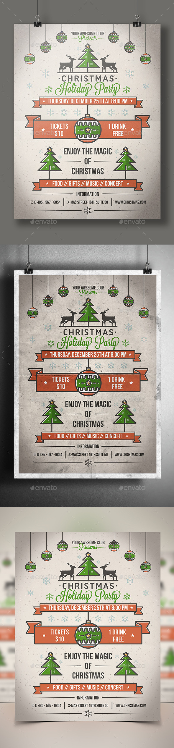 Christmas Party Poster Flyer - Clubs & Parties Events