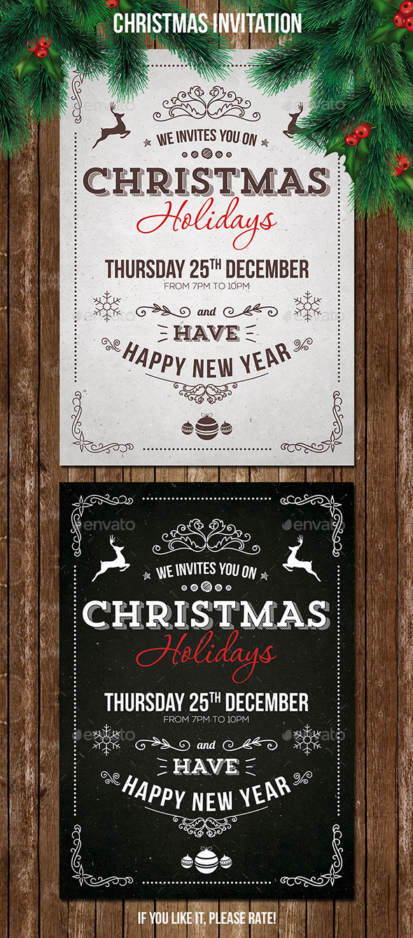 Vintage Christmas Invitation - Cards & Invites Print Templates