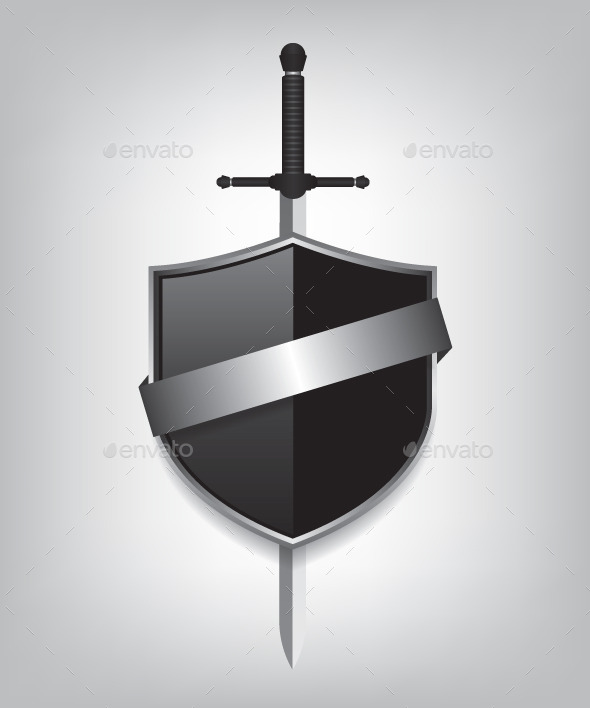 Sword and Black Shield - Objects Vectors